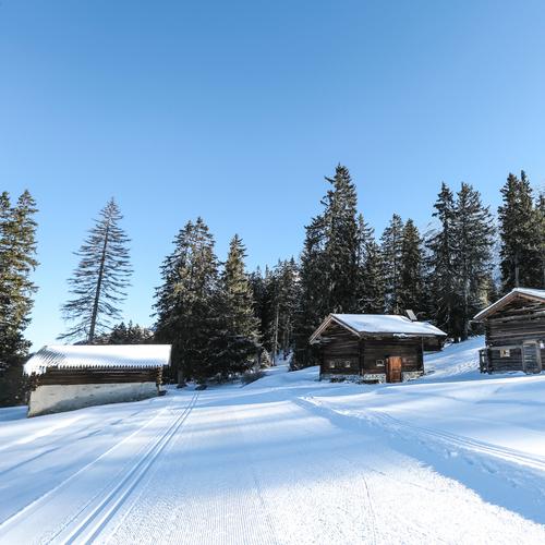 Hütten im Schnee mit Langlaufloipe