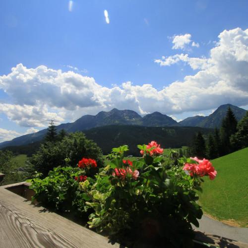 "Balkon mit Bergpanoramablick Ferienwohnung ""Sonnenaufgang"" - Ferienhof Obertenn, Hochfilzen"