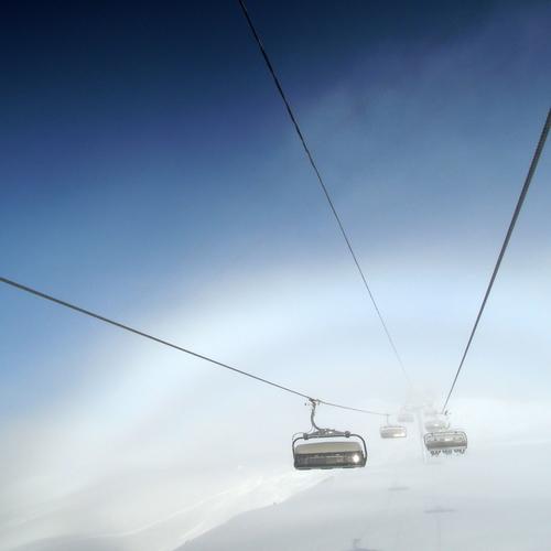 Bergbahn im Nebel
