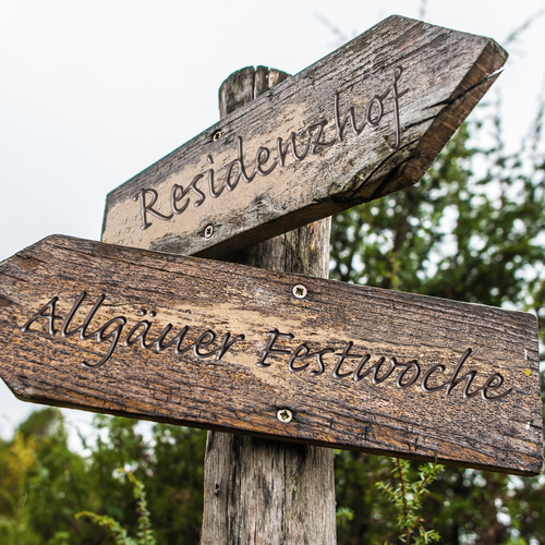 Old wooden narrow shaped blank empty hiking signpost in the woods