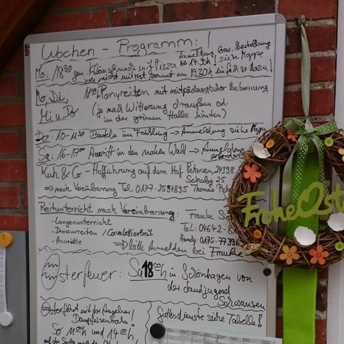 Wochen Programm zB. zu Ostern