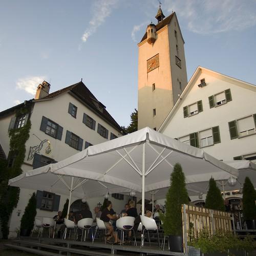 Café Bock mit Bockturm in der Abendsonne