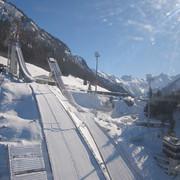 Blick auf die Schattenbergschanze aus der Nebelhornbahn